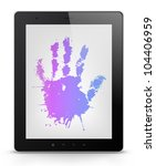 Palm Concept. Tablet PC Isolated on White Background. Vector EPS 10. - stock vector