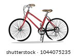 hand drawn of red bicycle ... | Shutterstock .eps vector #1044075235