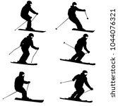 set mountain skier speeding...   Shutterstock .eps vector #1044076321