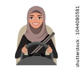 arab businesswoman driving a... | Shutterstock .eps vector #1044080581