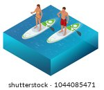 isometric paddleboard beach men ... | Shutterstock .eps vector #1044085471