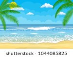 tropical beach. sandy beach... | Shutterstock .eps vector #1044085825