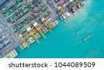 container ship in export and...   Shutterstock . vector #1044089509