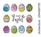 black lettering happy easter... | Shutterstock .eps vector #1044089755