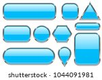 blue glass buttons with chrome... | Shutterstock .eps vector #1044091981