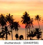 Fiery Backdrop Tree Silhouettes