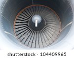 Big turbine blades of an aircraft - stock photo