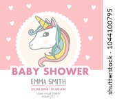 baby shower invitation card...   Shutterstock .eps vector #1044100795