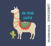cute cartoon llama vector... | Shutterstock .eps vector #1044100807