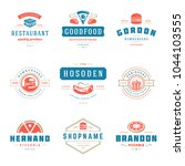 fast food logos set vector... | Shutterstock .eps vector #1044103555