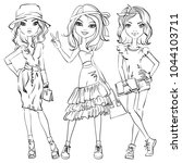 black and white set of cute... | Shutterstock . vector #1044103711