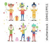 funny clowns set with toys and... | Shutterstock .eps vector #1044119911