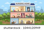 nursing home city building... | Shutterstock .eps vector #1044120949