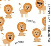 lion seamless pattern and... | Shutterstock .eps vector #1044121279