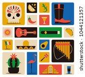 mexico icons set. sun  moai... | Shutterstock .eps vector #1044121357