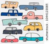 hand drawn vector cars set....   Shutterstock .eps vector #1044123085