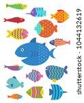cute fish vector flat set icon | Shutterstock .eps vector #1044132619
