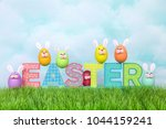 colorful decorated easter eggs... | Shutterstock . vector #1044159241