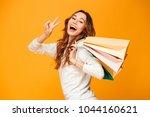 cheerful brunette woman in... | Shutterstock . vector #1044160621