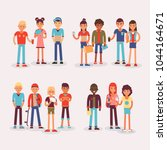 youth teens group vector... | Shutterstock .eps vector #1044164671
