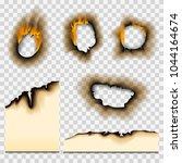 burnt piece burned faded paper... | Shutterstock .eps vector #1044164674