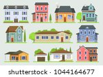 cottage house facede vector... | Shutterstock .eps vector #1044164677