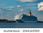 large royal cruise liner on the ... | Shutterstock . vector #1044165505