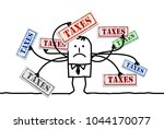 cartoon man with too many taxes | Shutterstock .eps vector #1044170077