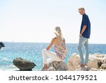 mother and teenager son on... | Shutterstock . vector #1044179521