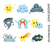 set of weather forecast icons... | Shutterstock .eps vector #1044183349