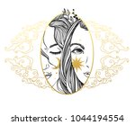 two pretty girls with moon and... | Shutterstock .eps vector #1044194554