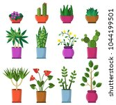 house plants in pots. vector... | Shutterstock .eps vector #1044199501