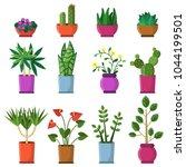 house plants in pots. vector... | Shutterstock .eps vector #1044199501