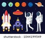 set of planets  space shuttles... | Shutterstock .eps vector #1044199549