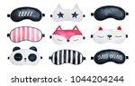 Stock photo sleep masks set classic black striped with sleepy text zzzzz sweet dreams star animal 1044204244