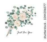 vector floral bouquet with rose ...   Shutterstock .eps vector #1044206077