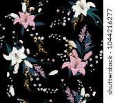trendy  dark floral pattern in...   Shutterstock .eps vector #1044216277