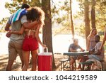 couple with cool box walking to ... | Shutterstock . vector #1044219589