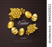 happy easter background with... | Shutterstock .eps vector #1044220321