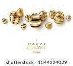 easter horizontal border with... | Shutterstock .eps vector #1044224029