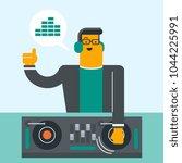 young caucasian dj mixing music ... | Shutterstock .eps vector #1044225991