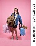 smiling asian woman traveler... | Shutterstock . vector #1044226801