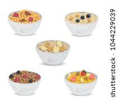 collection of cereal porridge... | Shutterstock .eps vector #1044229039