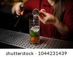 female bartender pouring out an ... | Shutterstock . vector #1044231439