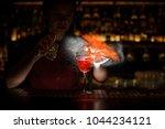 female bartender spraying on... | Shutterstock . vector #1044234121