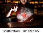 female bartender spraying on... | Shutterstock . vector #1044234127
