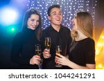 three young men and two women... | Shutterstock . vector #1044241291
