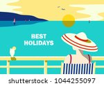 summer seaside landscape. blue... | Shutterstock .eps vector #1044255097