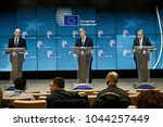 Small photo of Brussels, Belgium. 12th March, 2018. Press conference after Eurogroup meeting at the European Council headquarters.