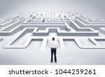 Small photo of Businessman getting ready to enter a 3D flat labyrinth concept